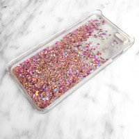 Rose Gold Pink Iridescent Diamond Liquid Glitter Quicksand Cell Phone Case - iPhone 5 5s 6 6s 7 Plus