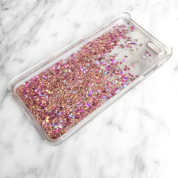 Rose Gold Pink Iridescent Diamond Liquid Glitter Quicksand Cell. Iphone 7  Cases ... d9548566e