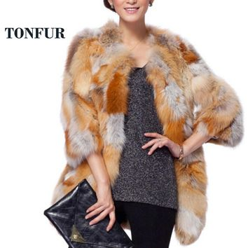 Fashion Genuine Fur Coat 100% Real Red Fox Fur Long Coat Female Trend Fox Fur Jacket women overcoat TONFUR  FP727