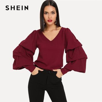 SHEIN Burgundy Layered Sleeve V-Neck Solid Tee Long Sleeve Regular Fit Elegant Pullover Women Autumn Casual Tshirt Top