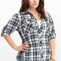 Plus Size Perry Black and White Plaid Shirt | Fashion To Figure