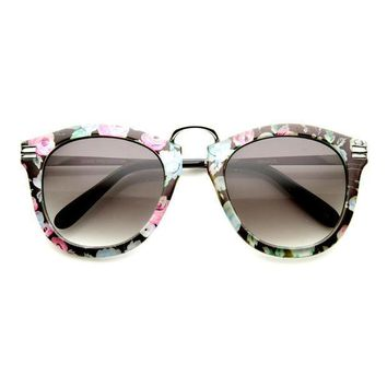 Womens Floral Print Round P3 Sunglasses