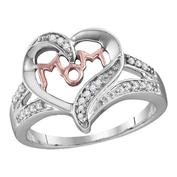 Sterling Silver Women's Round Diamond Mom Mother Heart Fashion Ring 1/10 Cttw - FREE Shipping (US/CAN)