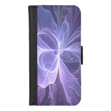Monogram Purple Abstract Modern Fractal iPhone 8/7 Wallet Case