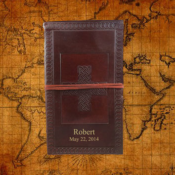 Personalized Celtic Cross Journal with leather strap - 571WS