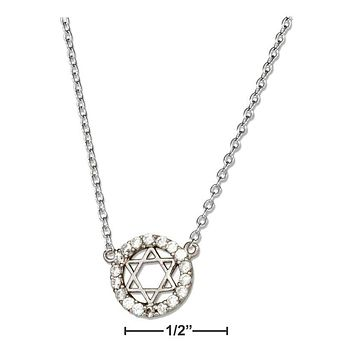 "Sterling Silver Necklace:  16""-18"" Adjustable Micro Pave Circle With Star Of David Necklace"