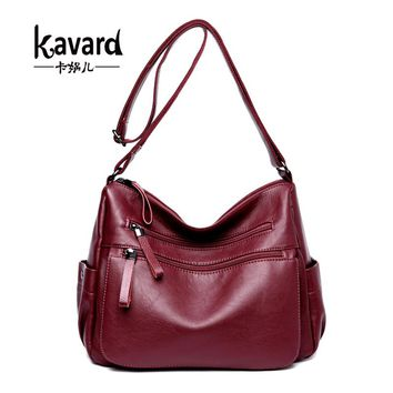 Kavard High Quality Soft Leather Luxury Handbags Women Bags Designer Double Zippers Crossbody Bag For Women sac a main New