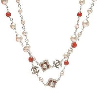 Chanel Woman Fashion Logo Pearls Necklace For Best Gift-8