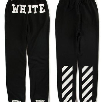spbest OFF-WHITE c/o Virgil Abloh black Jogger Sweatpants Sweat pants Pyrex Version  trousers