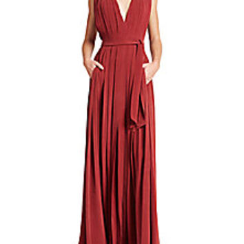 L'AGENCE - Lilly Pleated Deep-V Gown - Saks Fifth Avenue Mobile