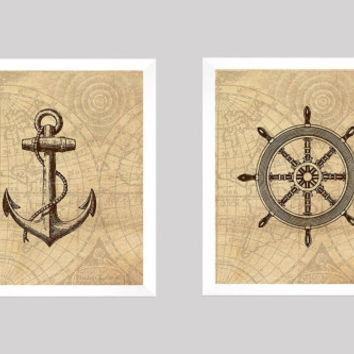Nautical Prints, Nautical Decor, Vintage Nautical, Anchor Print, Wheel Print, Vintage Map, 8x10 Prints, Set of 2, CUSTOMIZE YOUR COLORS