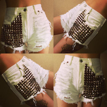 Rare Vintage High Waist Levi's 501s Shorts in White w/ Distressing & Studs
