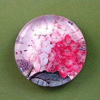 Pink Hydrangea Floral Mini Round Glass Paperweight Home Decor
