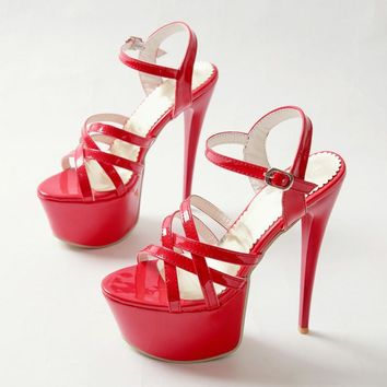 Women High Heels 16 CM Sandals Plus Size 31 - 48 In Red
