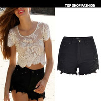 Sexy Women Girl Summer High Waist Ripped Hole Wash Denim Jeans Shorts Pants = 4721828228