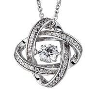 .25ct (4mm) Sterling Silver Dancing Diamond Simulant - Diamond Veneer 3-dimensional Pendant in perpetual motion 635P216