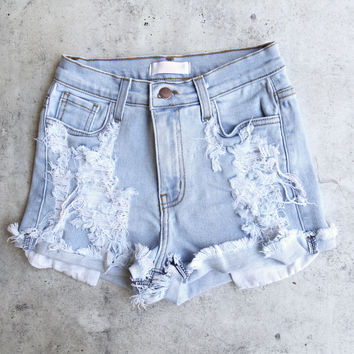 destroyed high waist denim shorts - light stone wash