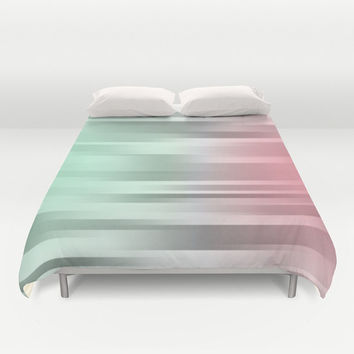 Green- Gray - Pink - Bed Cover - Duvet Cover Only - Bed  Spread - Mint - Grey - Coral - Made to Order
