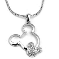 Yoursfs 18k White Gold Plated Crystal Charm Necklace Gorgeous Double Mouse Pendants For Women and Girls