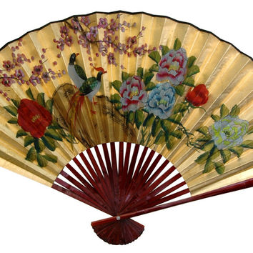 Oriental Furniture Gold Leaf Birds and Peonies Fan Wall Décor