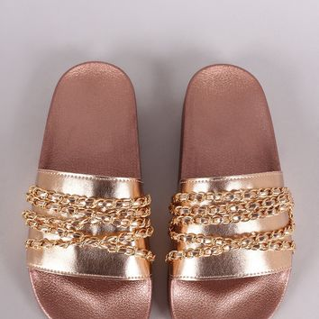 Qupid Chain Embellished Open Toe Slide Sandal