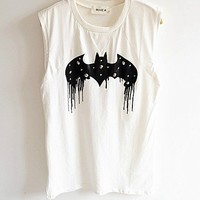 [grxjy560062]Fashion Rivet  Bat Graphic Vest