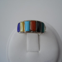 Sterling Silver 925 Multi Color Stone Ring Size 7.5 Unmarked Tested