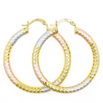 Gold Layered Medium Hoop, Hollow Design, Tri Tone