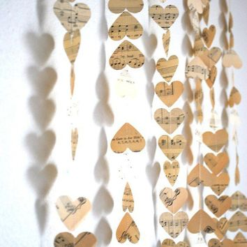 5 Vintage Music Hearts Garlands  each 10' by thePathLessTraveled