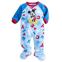 Disney Store Mickey Mouse Snap Blanket Sleeper Footed for Baby Boy 18-24M