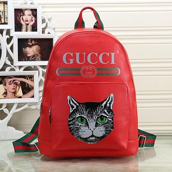 3a63994a4a3991 GUCCI Women Fashion Leather Mystical Cat Backpack Shoulder Bag Bookbag