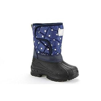 Infants Girls Ositos BHD03-I Quilted Star Print Fur Lined Winter Snow Boots
