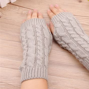 Fashion 20Cm Women Gloves Stylish Hand Warmer Winter Gloves Women Arm Crochet Knitting Faux Wool Mitten Warm Fingerless Gloves