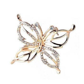 Glamorousky Elegant Butterfly Brooch with Silver Austrian Element Crystals 2866
