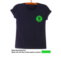 Alien T Shirt Printed Tee Casual Fashion Funny UFO Hipster Tumblr Womens Teenager Mens Gifts Cute Black Tops Instagram Pinterest Twitter