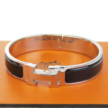 Authentic HERMES H Logo Bracelet Bangle Plastic Silver Plated Accessory 69BE069