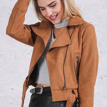 8DESS Zipper Basic Suede Motorcycle Jacket Women Outwear Pink Belted Short Winter Jackets