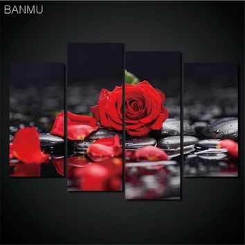 4 Pieces/set Canvas Painting Modular picture wall Print Flower White Lotus In Black Wall Art Picture with Modern Wall Paintings