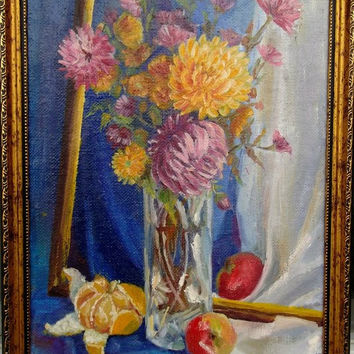 Fine art still life oil painting on canvas - TEXTURED palette knife painting - Hand Painted Home Decor