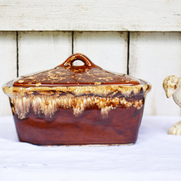 Roseville Drip Casserole Dish, Vintage Brown Drip Covered Ovenware Casserole, Brown Ware Serving -Brown Drip Ovenware