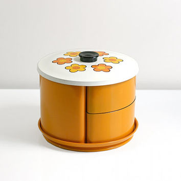 vintage mustard yellow floral melmac kitchen canister set