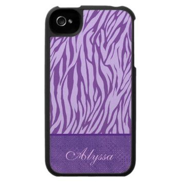 Lavender Purple Zebra Print Custom Name iPhone 4 Case from Zazzle.com