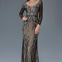 G2102 Lace Long Sleeve Prom Dress Pageant Evening Gown