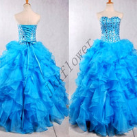 Long Blue Ball Grown Organza Prom Dresses,Sweetheart Stunning Crystal Beaded Evening Dresses,Formal Party Grown 2015