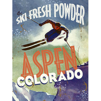 Personalized Ski Fresh Powder Wood Sign