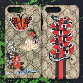 Cute GUCCI Snake Butterfly Embroidery iPhone Phone Cover Case For iphone 6 6s 6plus 6s-plus 7 7plus