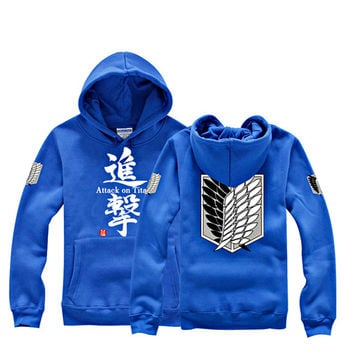 Attack on Titan Scouting Legion Eren Jaeger Blue Hoodie Cosplay Sweater All Size and Free Shipping SW85BU