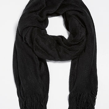 solid ultra soft scarf with fringe in black