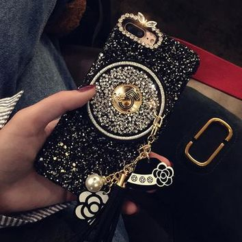 Woman Lady Style 3D Diamond Bling Glitter Tassel Stars Chain Phone Case For iPhone X 8 Plus 6 6S 6plus 6S 7 Plus