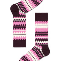 Pink Zigzag cool socks for fun people at HappySocks.com